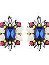 Women\'s Colorful Synthetic Tanzanite Crystal Rhinestone Imitation Diamond Stud Earrings - Colorful Fashion Geometric Square For Daily