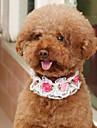애완견 용품 고양이 용품 칼라 조정가능한 사이즈 폴더 통기성 장식 메쉬 꽃패턴 PU 가죽 화이트 핑크