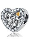 DIY Jewelry 1pcs Beads Rhinestone Alloy Silver Heart Bead 2cm DIY Necklace Bracelet