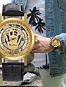 Pánské Dámské Hodinky k šatům Hodinky s lebkou Náramkové hodinky japonština Křemenný Kůže Černá / Hnědá Chronograf S dutým gravírováním kreativita Analogové Luxus Klasické - Hnědá Zlatohnědá Zlat