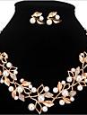 Mulheres Perola / Imitacao de Perola / Strass Floral Conjunto de joias Brincos / Colares - Personalizada / Floral / Fashion Dourado /