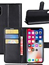 Etui Til Apple iPhone X iPhone 8 Plus Kortholder Pung Med stativ Fuldt etui Ensfarvet Hårdt PU Læder for iPhone X iPhone 8 Plus iPhone 8
