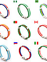 Men\'s Women\'s Country Flag Braided Rope Leather Bracelet Wristband Football / Soccer World Cup PU Leather Allon Clasp 22*1*0.51cm Outdoor