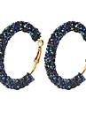 בגדי ריקוד נשים קריסטל רטרו טבעות חישוקים עגיל Huggie Earrings עגילים סופגניות נשים וינטאג\' פאנק אלגנטית תכשיטים לבן / שחור / כחול כהה עבור מסיבה\אירוע ערב מועדונים זוג 1
