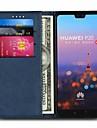Кейс для Назначение Huawei P20 Pro / P20 lite Бумажник для карт / со стендом Чехол Однотонный Твердый Настоящая кожа для Huawei P20 / Huawei P20 Pro / Huawei P20 lite