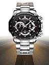 Heren Dress horloge Japans Kwarts Roestvrij staal Zilver 30 m Waterbestendig s Nachts oplichtend Grote wijzerplaat Analoog Luxe Modieus - Wit Zwart