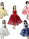Party / Evening / Ball Gown Dresses 5 pcs For Barbie-Doll Lace / Satin Dress For Girl\'s Doll Toy