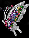 Women\'s AAA Cubic Zirconia Sculpture Brooches Silver Plated Austria Crystal Butterfly Ladies Korean Brooch Jewelry Silver For Valentine